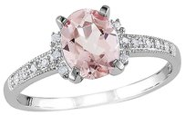 Sterling Silver 1.22 Ct Tw Diamond And Morganite Cluster Fashion Ring Gh I2i3