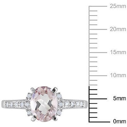 Other Sterling Silver 1.22 Ct Tw Diamond And Morganite Cluster Fashion Ring Gh I2i3