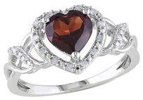 Other Sterling Silver 110 Ct Diamond And 1 38 Ct Garnet Heart Cocktail Ring Gh I2i3