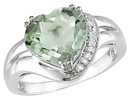 Other 14k White Gold Diamond And 3 14 Ct Green Amethyst Heart Cocktail Ring I1
