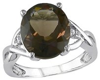 Other Sterling Silver 3.76 Ct Tw Diamond And Smokey Quartz Crossover Fashion Ring I3