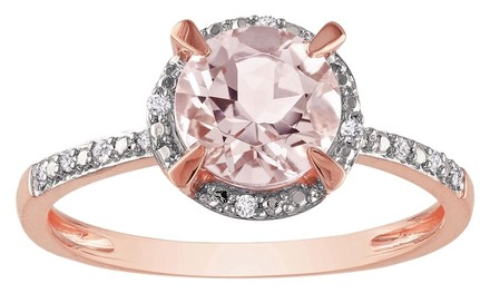 Other 10k Rose Gold Morganite Diamond Accent Engagement Pink Ring 1.22 Ct G-h I1-i2