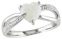 Sterling Silver 0.99 Ct Tw Diamond Opal Swivel Crossover Heart Love Ring Gh I3