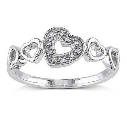 Other Sterling Silver Diamond Fashion Heart Love Diamond Accent Ring I3