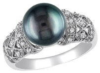 Other 14k White Gold 110 Ct Diamond 9-10 Mm Black Tahitian Pearl Fashion Ring