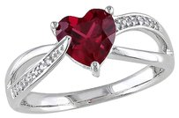 Other Sterling Silver 1.66 Ct Tw Diamond And Ruby Swivel Crossover Heart Love Ring