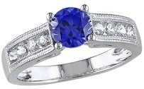 Other 1 12 Ct Tgw White And Blue Sapphire Fashion Ring In Sterling Silver