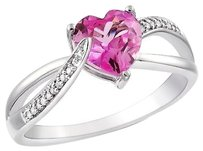 Sterling Silver 1.55 Ct Tw Diamond And Pink Sapphire Swivel Crossover Heart Ring