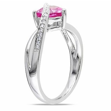 Other Sterling Silver 1.55 Ct Tw Diamond And Pink Sapphire Swivel Crossover Heart Ring