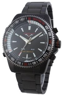 Other Cohro G T Sky Shock Gmt903blk Japan Seiko Mvt Dual Time Led Mens Watch Ga