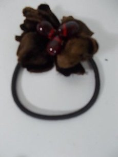 Colette Malouf Brown Velvet Burgunry Stone Flower Ponytail Holder