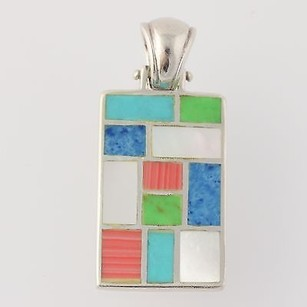 Colorful Stone Mosaic Pendant - Sterling Silver Turquoise Serpentine Jasper Mop