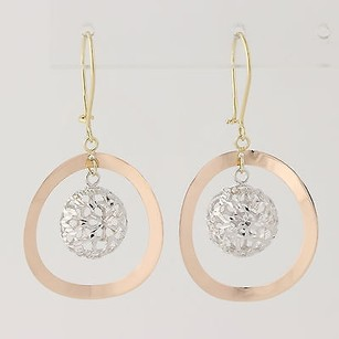 Contemporary Drop Earrings - 14k White Rose Yellow Gold Pierced Womens Gift