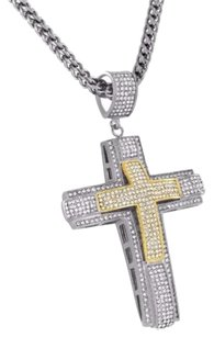 Other Cross Jesus Pendant Simulated Diamonds Franco Necklace Stainless Steel Tone