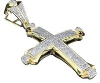 Diamond Domed Cross Pendant Mens .925 Yellow Gold Finish Round Charm 34 Tcw.