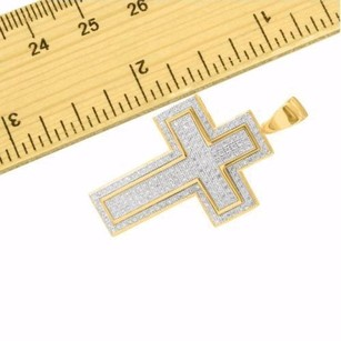 Cross Pendant For Men 14k Gold Finish Sterling Silver Simulated Diamond Pave