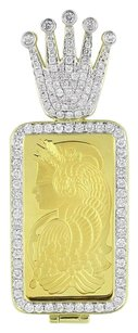 Crown Logo Bar Pendant 1 Ounce Fine Gold 999.9 14k Gold Charm Diamonds Ct