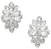Crystal rhinestone flower clip on earrings