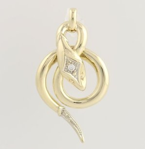 Other Cubic Zirconia Serpent Pendant - 8k Yellow White Gold Polished Fashion Cz
