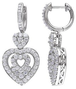 Sterling Silver 110 Ct Diamond And Stacked Heart Sapphire Huggie Earrings I2i3