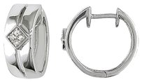 Sterling Silver Accent Diamond Hoop Cuff Earrings 0.08 Ct G-h I2-i3