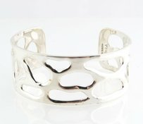Cuff Bracelet Taxco Design - Sterling Silver Polished Open Cut Style 925 Fine