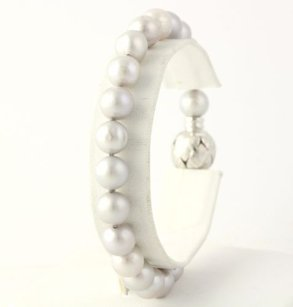 Cultured Pearl Bracelet 14 - 18k White Gold Box Clasp Light Grey June Gift