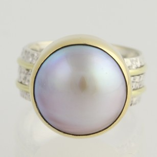 Other Cultured Pearl Cocktail Ring - Sterling Silver 18k Yellow Gold 14 - 12