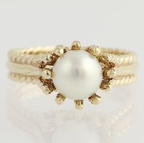 Other Cultured Pearl Solitaire Ring - 10k Yellow Gold 34 - Fine June Gift