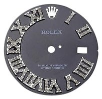 Custom Pave Set Diamond Charcoal Grey Dial For Rolex Datejust 36mm Watch 0.75 Ct