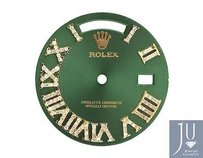 Custom Pave Set Diamond Green Dial For Rolex Day Date 1 41mm Watch 0.75 Ct