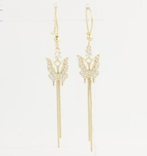 Cz Dangle Butterfly Earrings - 14k Yellow Gold Womens .50ctw Dew Chain Fine