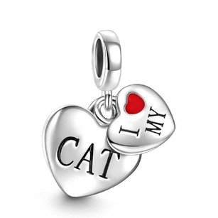 Other Dangle Hearts I Love My Cat Charm 925 Sterling Silver
