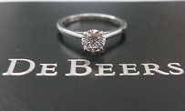 Debeers Platinum Round Cut Diamond Engagement Ring .74ct F-vvs2 Triple Excellent