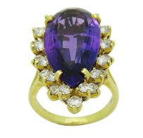 Designer 18k Gold Approx. Carat Amethyst 1.00 Tcw Vs F Diamond Ring R671