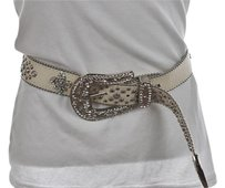 Designer Belt Womens White Belt Sm Gemmed Studded Leather Casual
