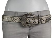 Designer Womens Ivory Silver Belt Leather Studded