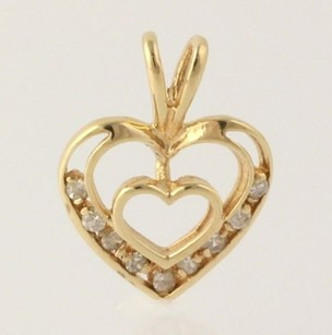 Other Diamond Accented Heart Pendant - Solid Fine 14k Yellow Gold .10ctw Womens