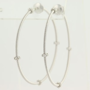 Other Diamond-accented Hoop Earrings - 18k White Gold Locking Backs Pierced .50ctw