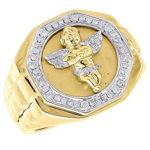 Diamond Angel Pinky Ring Mens 10k Yellow Gold Brushed Round Pave Set 0.34 Ct.