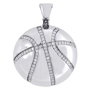 Other Diamond Basketball Pendant Mens 10k White Gold Round Pave Charm 0.55 Tcw.