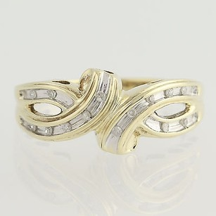 Other Diamond Bypass Heart Ring - 10k Yellow White Gold Fine Womens Estate Woven Band