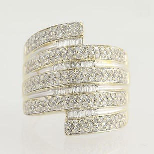 Diamond Bypass Ring - 10k Yellow White Gold 12 Baguette Cut 1.00ctw