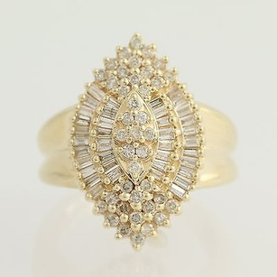 Diamond Cluster Cocktail Ring - 14k Yellow Gold Womens 1.00ctw