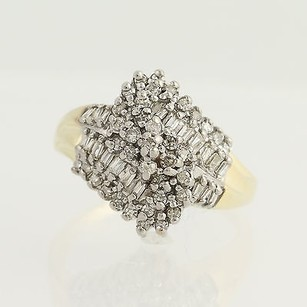 Diamond Cocktail Bypass Ring - 10k Yellow White Gold Cluster .50ctw