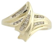 Diamond Cocktail Bypass Ring - 14k Yellow White Gold 14 Genuine .20ctw