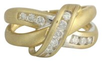 Other Diamond Cocktail Knot Band 10k Yellow White Gold Brushed Crossover .38ctw Ring