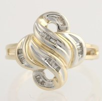 Other Diamond Cocktail Ring- 10k Yellow White Gold Baguette Cut Swirl Genuine .15ctw