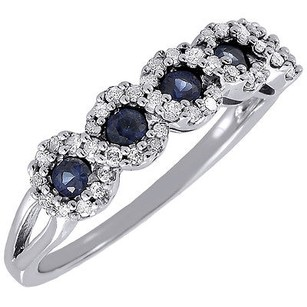 Diamond Created Blue Sapphire Fashion Band 10k White Gold Cocktail Ring 0.53 Tcw