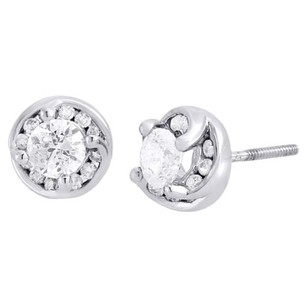 Diamond Earrings 14k White Gold Round Cut Solitaire Circle Studs 0.75 Tcw.